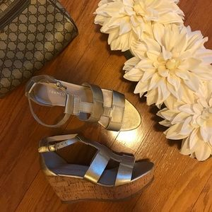 Franco Sarto gold wedge sandals